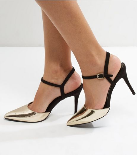 Gold Suedette Trim Ankle Strap Pointed Heels | New Look