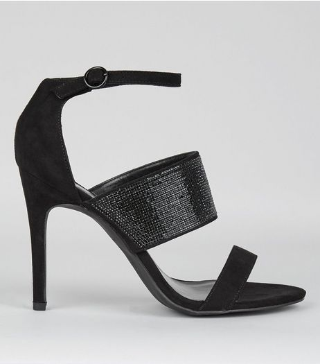 Black Glitter Strap Heeled Sandals | New Look
