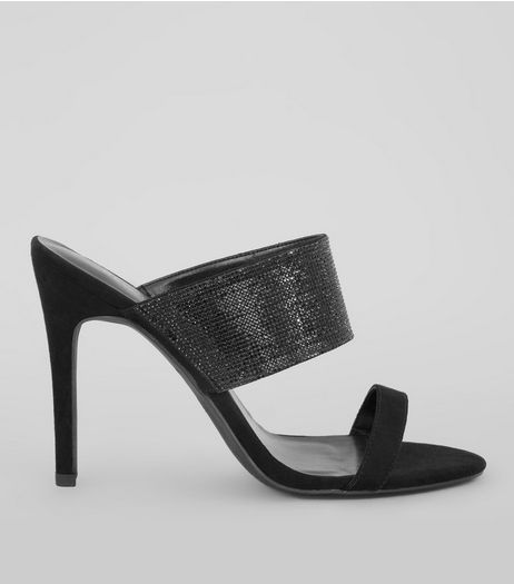 Black Suedette Wide Glitter Strap Heeled Mules | New Look