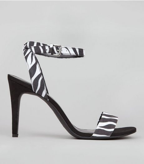 Black Zebra Print Ankle Strap Heels | New Look