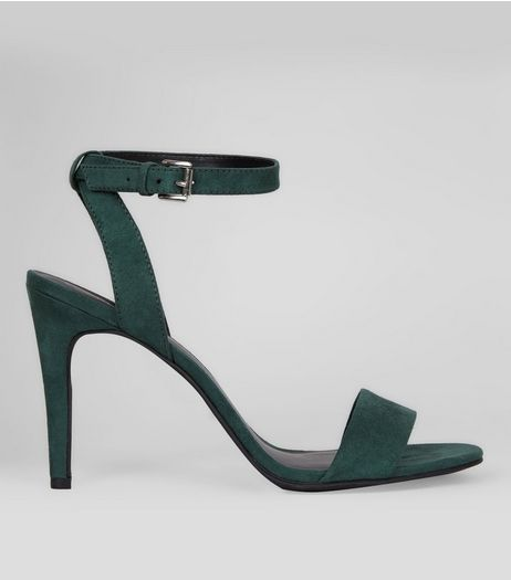 Green Suedette Cross Strap Side Heels | New Look