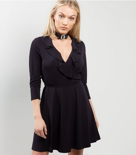 Petite Black Wrap Front Frill Trim Dress | New Look