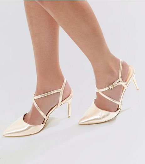 Gold Metallic Slingback Heels | New Look