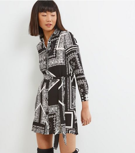 Petite Black Paisley Print Shirt Dress | New Look