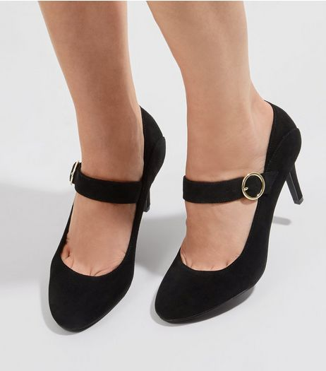 Black Suede Single Buckle Strap Heels | New Look