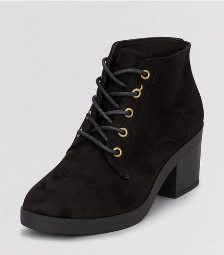 Teens Black Suedette Lace Up Block Heel Ankle Boots | New Look