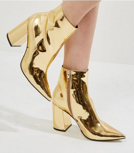 Gold Mirror Pointed Heeled Ankle Boots | New Look