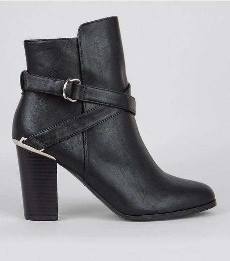 Wide Fit Black Metal Trim Buckle Strap Boots | New Look