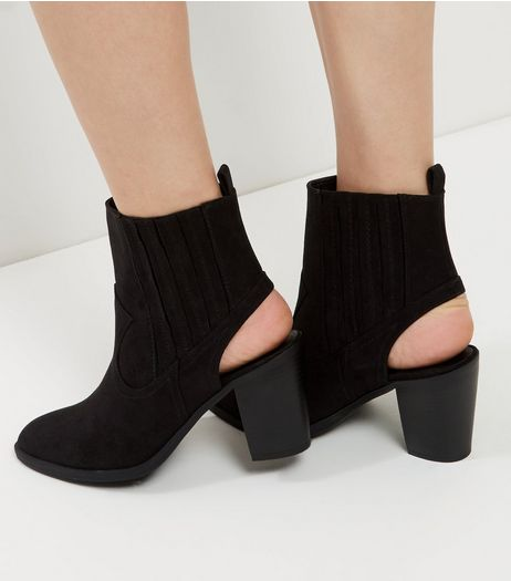 Wide Fit Black Suedette Open Heel Ankle Boots | New Look