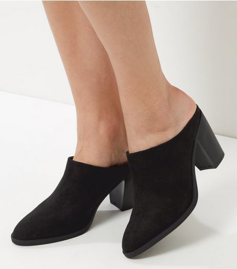 Wide Fit Black Suedette Heeled Mules | New Look