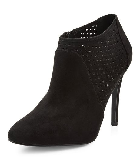 Black Suedette Laser Cut Out Shoe Boots | New Look