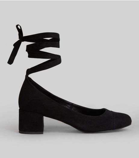 Wide Fit Black Suedette Tie Up Strap Block Heels | New Look