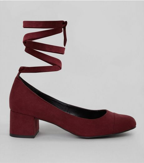 Wide Fit Purple Suedette Tie Up Strap Block Heels | New Look