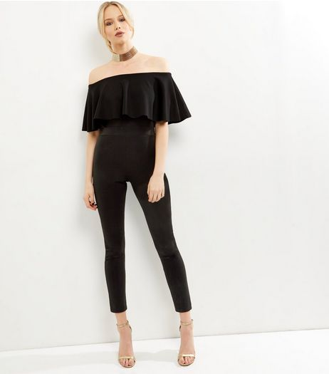 Cameo Rose Black Bardot Neck Frill Trim Jumpsuit  | New Look