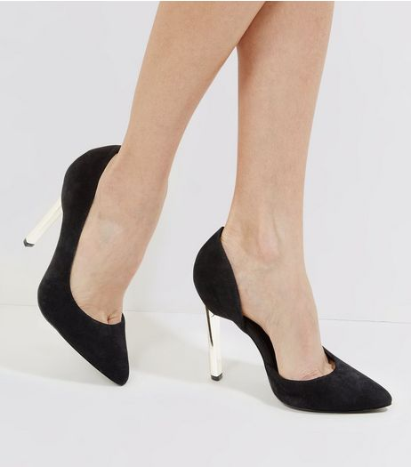 Black Suede Cut Out Side Metal Pointed Heels | New Look