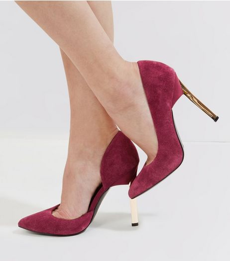 Burgundy Suede Cut Out Side Metal Pointed Heels | New Look