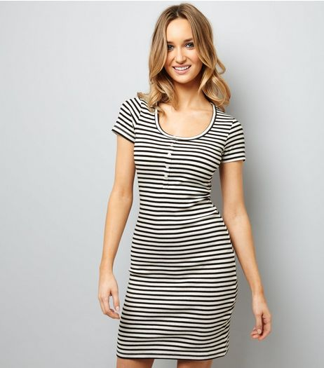 Black Button Front Stripe Dress  | New Look