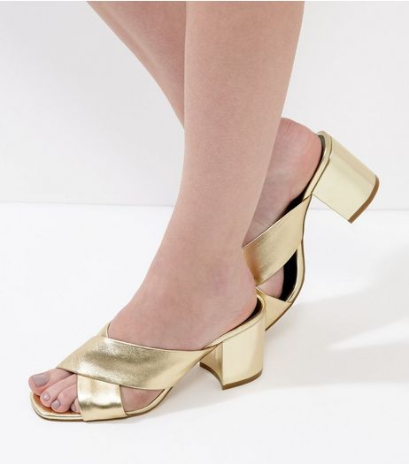 Gold Leather Cross Strap Heeled Mules | New Look