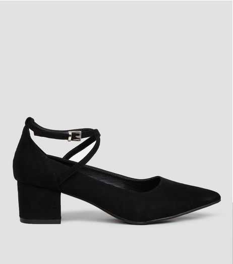 Black Suedette Pointed Toe Cross Strap Heels | New Look