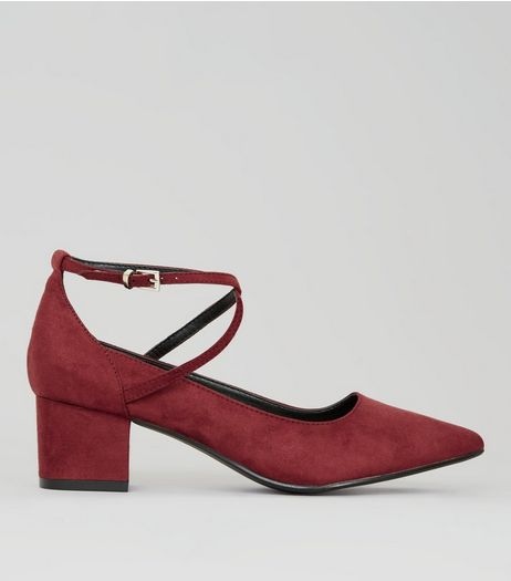 Red Suedette Pointed Toe Cross Strap Heels | New Look