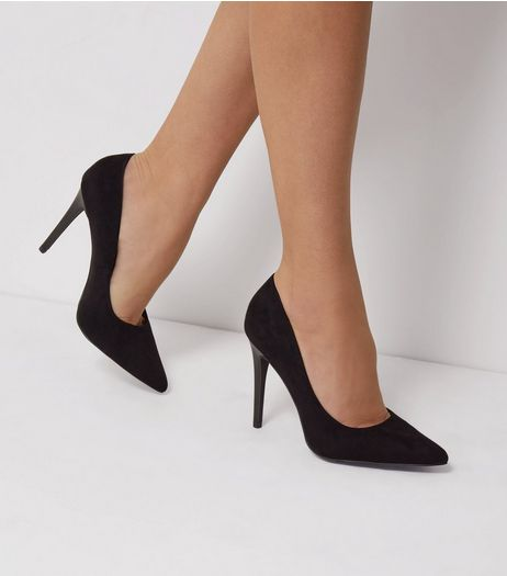 Black Suedette Matte Heel Pointed Court Shoes | New Look