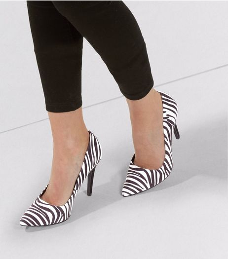 Black Zebra Print Suedette Matte Heel Pointed Court Shoes | New Look