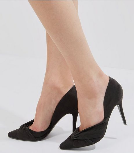 Black Suedette Bow Side Pointed Heels | New Look