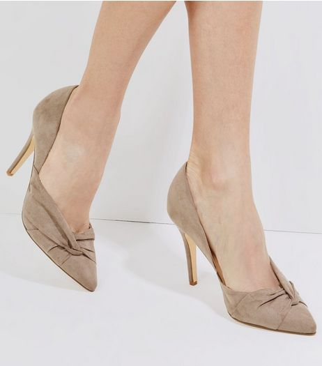 Light Brown Suedette Twist Side Pointed Heels | New Look
