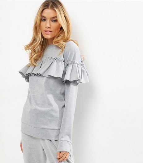 Cameo Rose Grey Frill Trim Jumper  | New Look