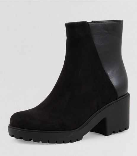 Teens Black Suedette Contrast Back Cleated Boots | New Look