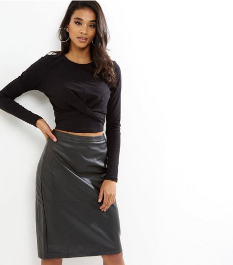 Black Leather-Look Seam Trim Pencil Midi Skirt  | New Look