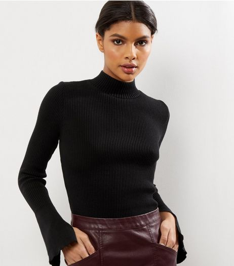 Black Knitted Funnel Neck Split Sleeve Jumper  | New Look