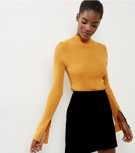 Yellow Knitted Funnel Neck Split Sleeve Jumper | New Look