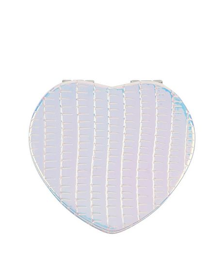 White Snakeskin Holographic Heart Mirror | New Look