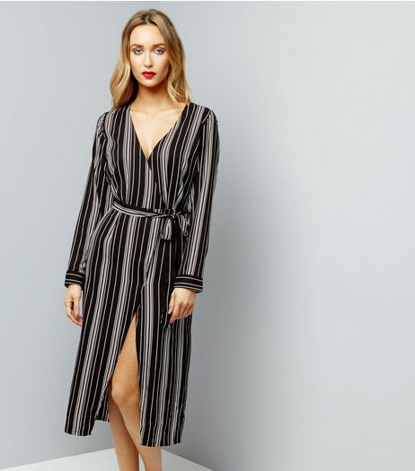 Influence Black Stripe Tie Waist Midi Dress | New Look