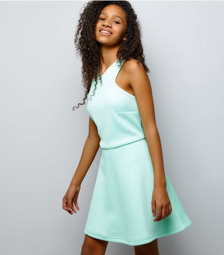 Teens Mint Green Bonded Mesh And Scuba Skater Dress | New Look
