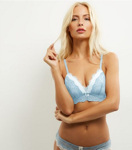 Mint Green Layered Lace Moulded Bralet | New Look