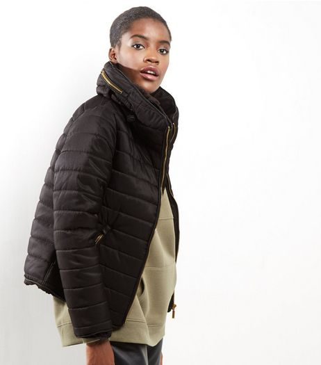 Black Padded Hidden Hood Puffer Jacket | New Look