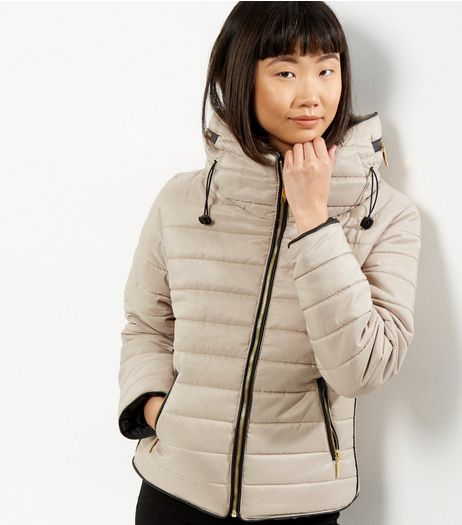 Mink Padded Hidden Hood Puffer Jacket | New Look