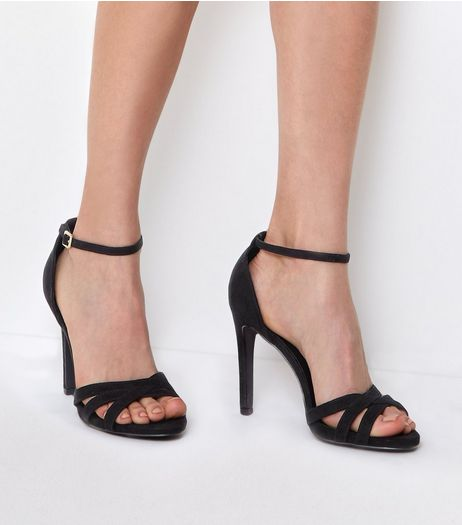 Black Suedette Cross Front Ankle Strap Heels | New Look