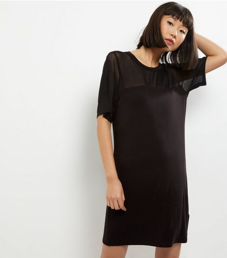 Black Mesh Panel T-Shirt Dress | New Look