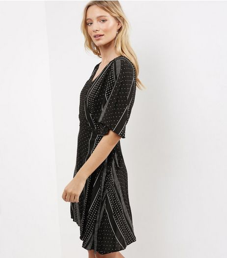 Black V Neck Spot Print Wrap Front Dress | New Look