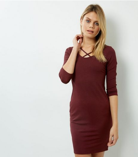 Burgundy Cross Strap Front Bodycon Dress | New Look