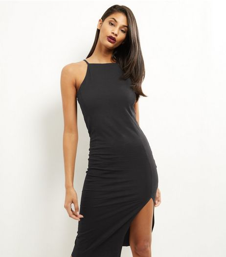 Black High Neck Split Side Midi Bodycon Dress | New Look