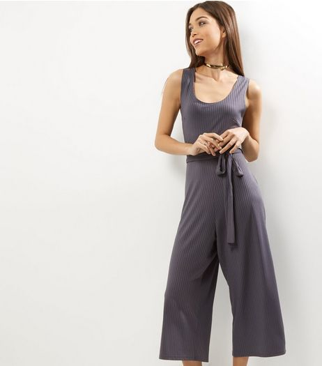 Dark Grey Ribbed Scoop Neck Tie Waist Jumpsuit  | New Look