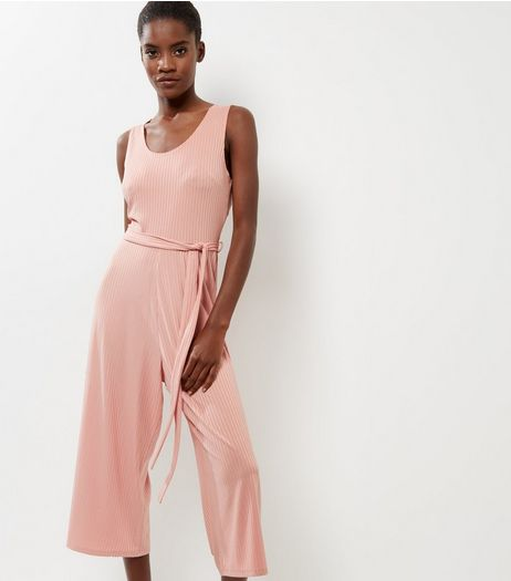 Pink Ribbed Scoop Neck Tie Waist Jumpsuit  | New Look