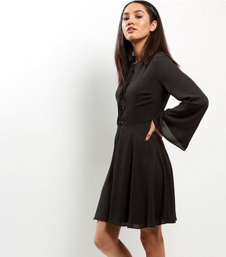 Black Lattice Front Eyelet Trim Flared Sleeve Dress | New Look