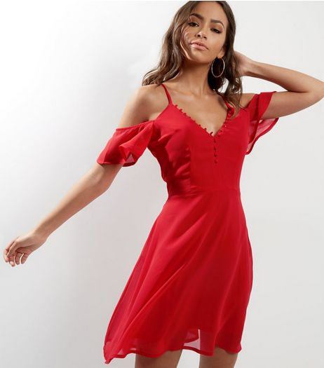 Influence Red Cold Shoulder Button Trim Skater Dress | New Look
