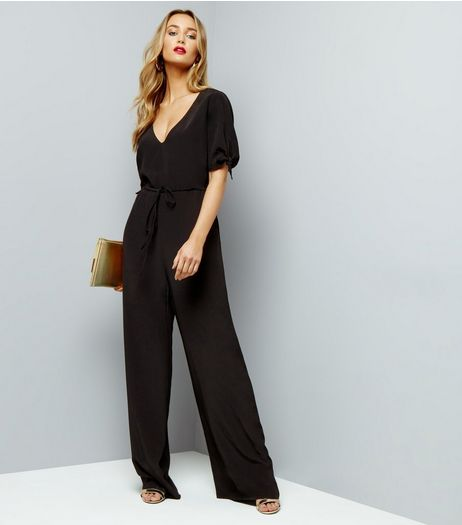 Black Tie Sleeve Jumpsuit | New Look