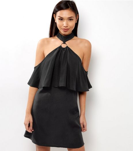 Black Ring Front Cold Shoulder Mini Dress | New Look